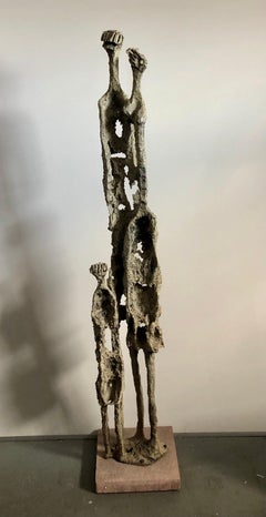 Rare Large Aharon Bezalel Israeli Modernist Unique Bronze Brutalist Sculpture