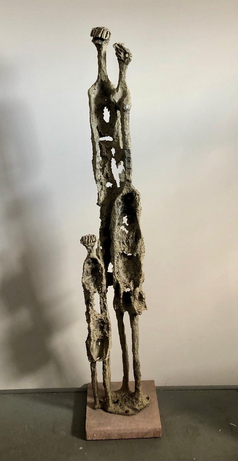 Rare Large Aharon Bezalel Israeli Modernist Unique Bronze Brutalist Sculpture  - Gold Abstract Sculpture by Aharon Bezalel