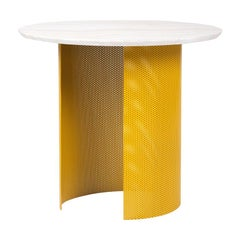 Ahead of Curve Table in Marble and Yellow Metal by Cristina Jorge De Carvalho