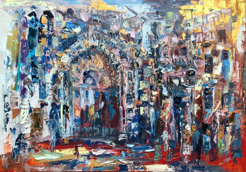 """""""Khan El Khalily"""" Painting 59"""" x 79"""" inch by Ahmed Dafrawy"""