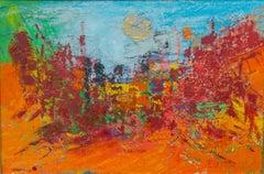 """City Scope"" Mixed Media Painting 31"" x 47"" inch by Ahmed Farid"