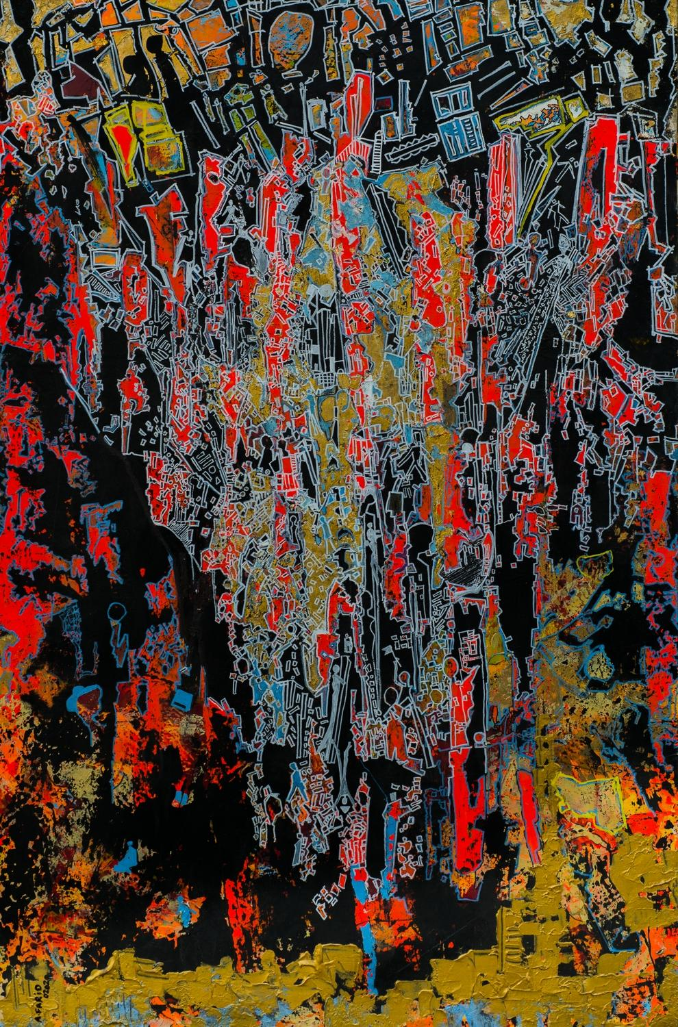 """""""Exchange"""" Mixed Media Painting 59' x 39' in by Ahmed Farid"""