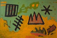 """Encoded Language II"" Painting 31"" x 47"" inch by Ahmed Gaafary"