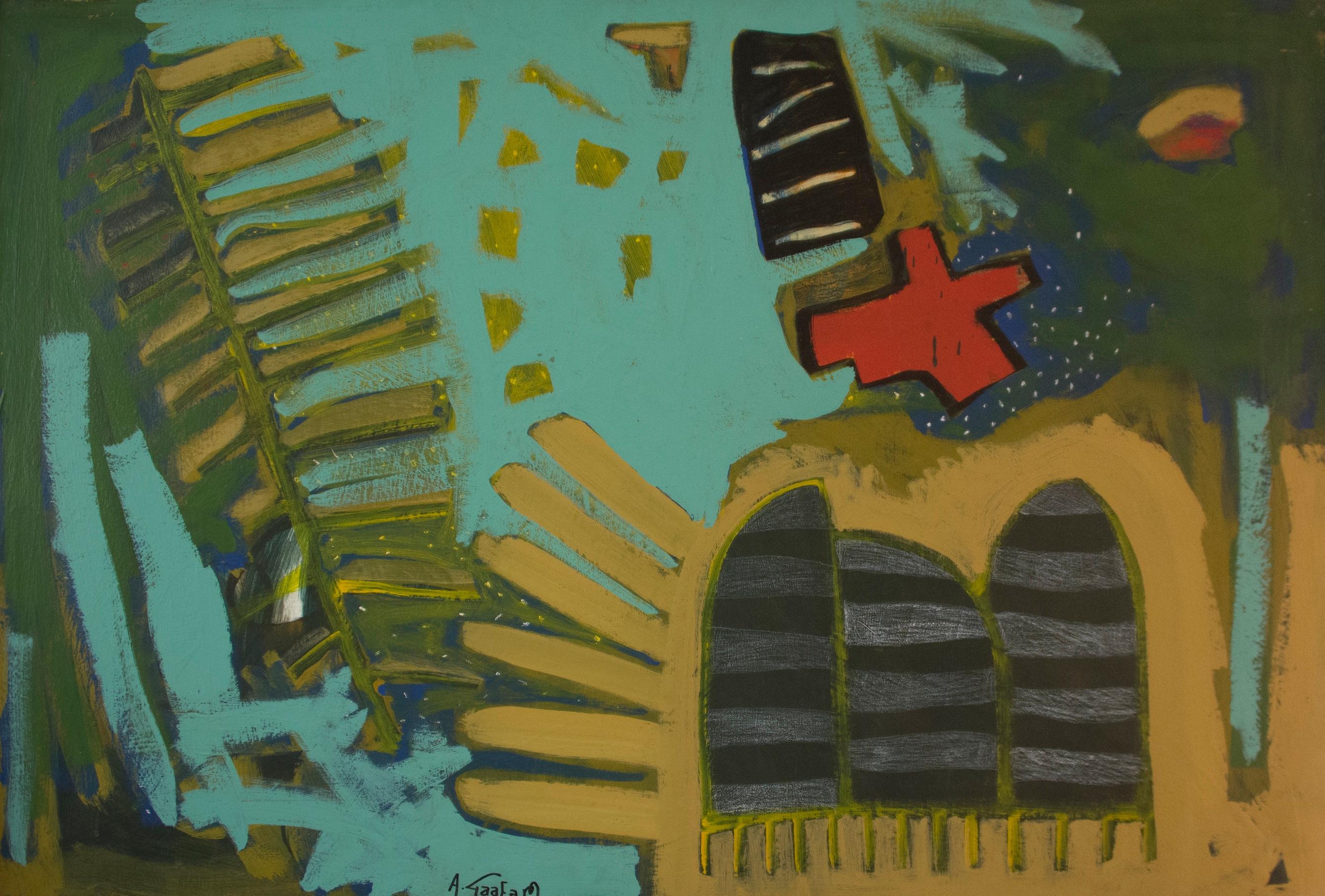 """Transmission I"" Acrylic Painting 31"" x 47"" inch by Ahmed Gaafary"