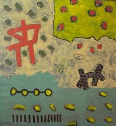 """Transmission III"" Acrylic Painting 37"" x 35"" inch by Ahmed Gaafary"