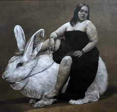"""Woman & Rabbit"" Charcoal on Paper Painting 20"" x 20"" inch by Ahmed Saber"