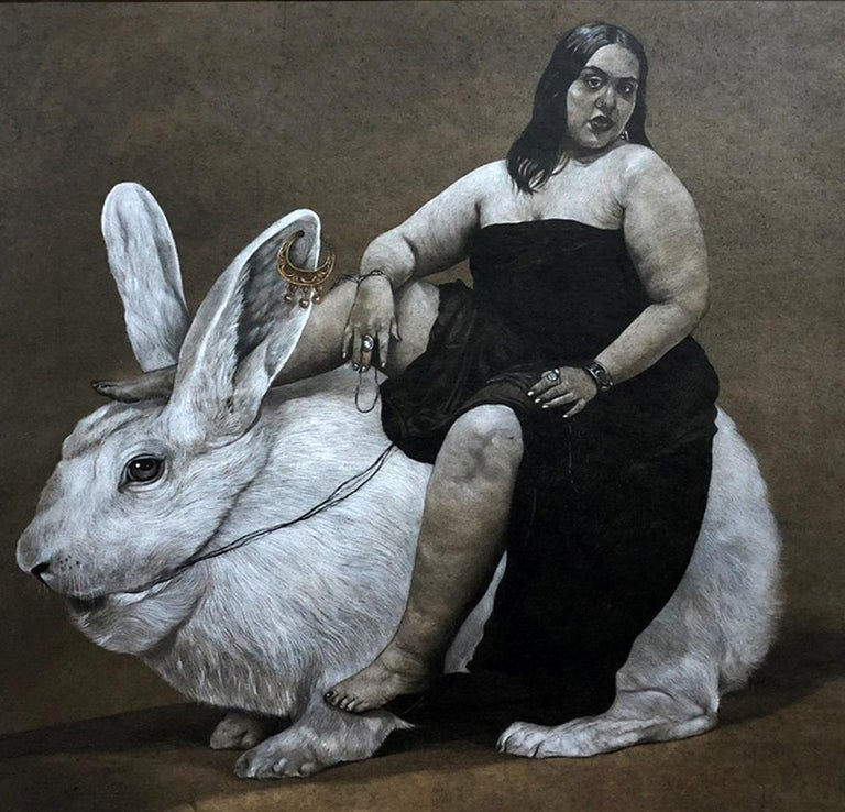 """""""Woman & Rabbit"""" Charcoal on Paper Painting 20"""" x 20"""" inch by Ahmed Saber  AHMED SABER - BIO Ahmed Saber is an Egyptian artist based in Luxor in Upper Egypt, where he received his BFA with honors in Graphic Design & Printmaking from the south Valley"""