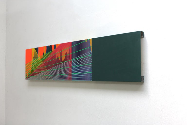Düsseldorfer Altstadt is a work by contemporary artist Ahn Hyun-Ju. In this abstract painting, the artist plays on the juxtaposition of 3 elements: a dark monochrome rectangle on the right of the painting, a network of brightly colored grids