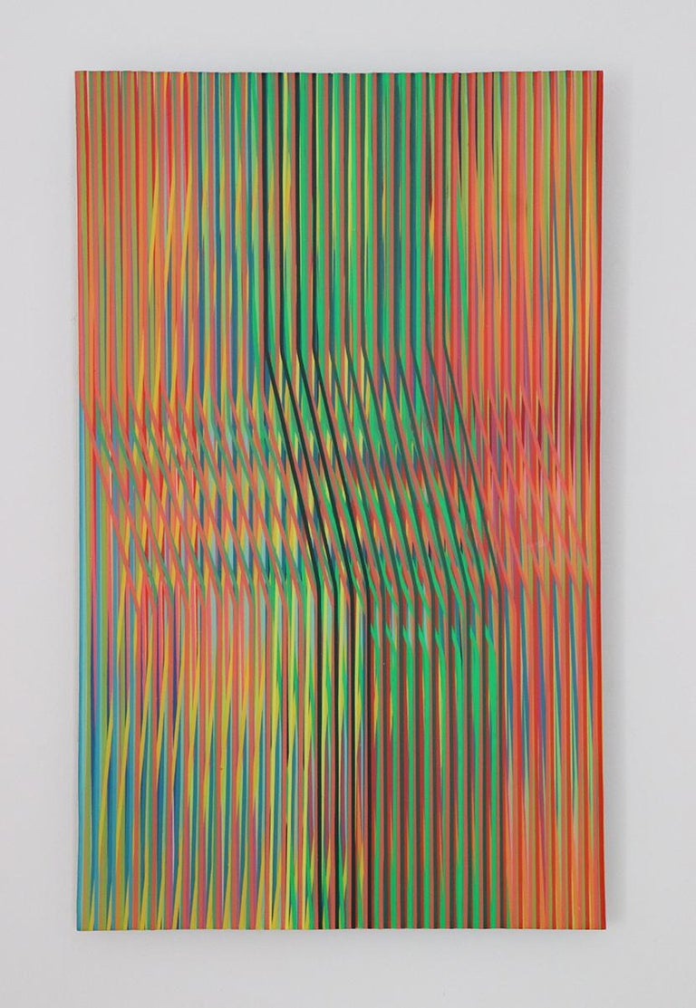 Line 1213-14 is an abstract painting by contemporary Korean artist Ahn Hyun-Ju. Polyester, acrylic and epoxy on aluminum, 52 x 32 cm. Signed, sold unframed. This painting challenges the observer's vision: the vivid color vertical lines interweave