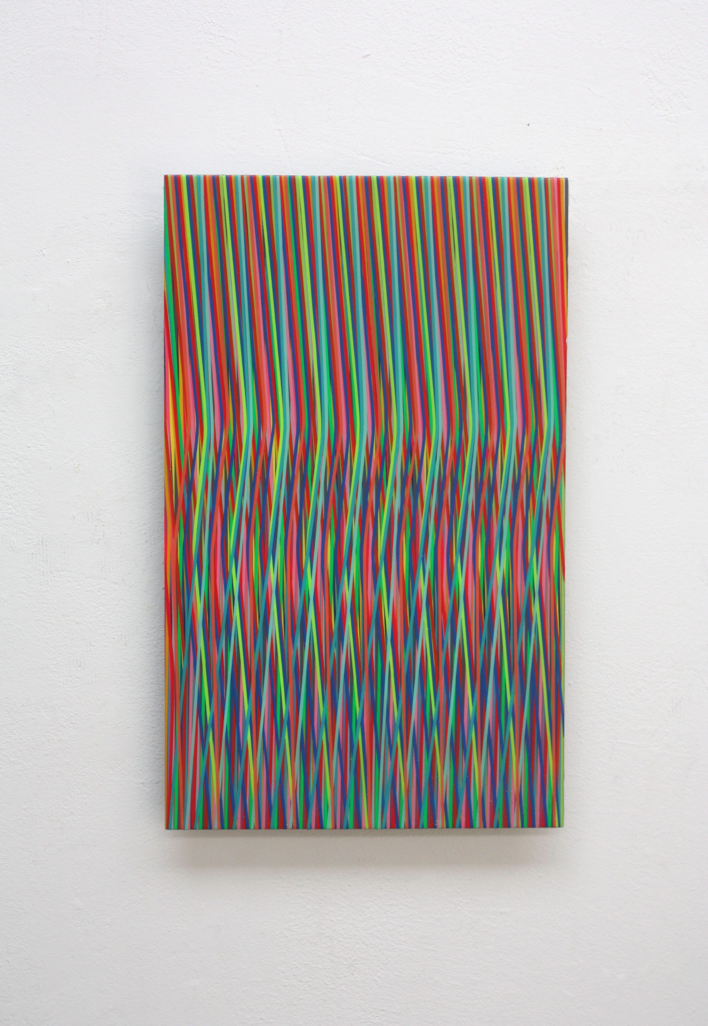 Line 1213-16 by Ahn Hyun-Ju - Abstract painting, minimalism, bright colors