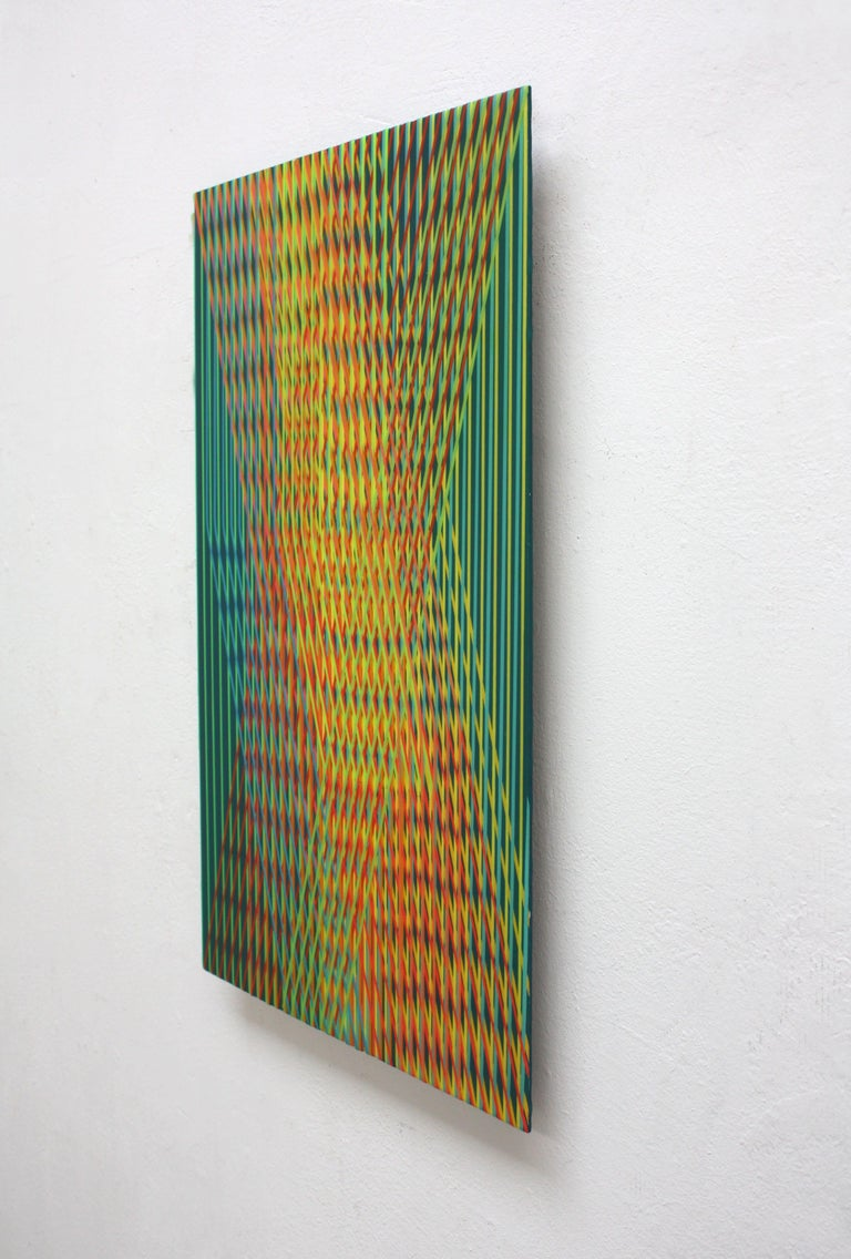 Line 1213-17 is an abstract painting by contemporary Korean artist Ahn Hyun-Ju. Polyester, acrylic and epoxy on aluminum, 52 x 32 cm. Signed, sold unframed. The