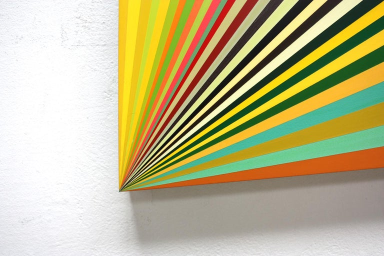 Moebius #9 is a work by contemporary artist Ahn Hyun-Ju.  Ann Hyun-Ju paints onto three dimensional aluminum supports and occasionally goes beyond the traditional limits of the stretcher (square or rectangular) to explore new shapes. Experimentation
