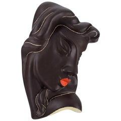 Ahr Keramik, Germany, Art Deco Female Face in Hand Painted Glazed Ceramics