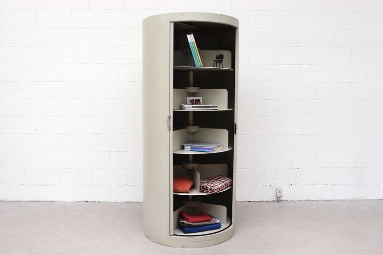 Mid-Century Modern Ahrend Industrial Grey Enameled Metal Round Bookshelf Cabinet For Sale
