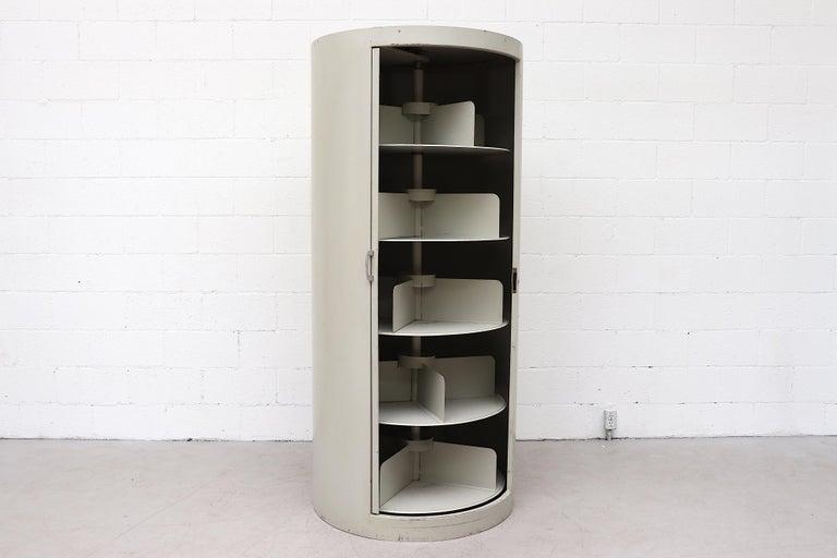 Dutch Ahrend Industrial Grey Enameled Metal Round Bookshelf Cabinet For Sale