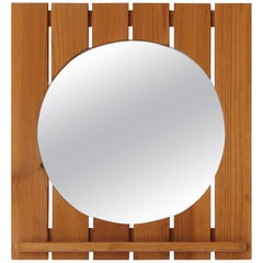 Ahrnbergs, Small Wall Mirror, Solid Pine, Mirror Glass, Sweden, 1970s