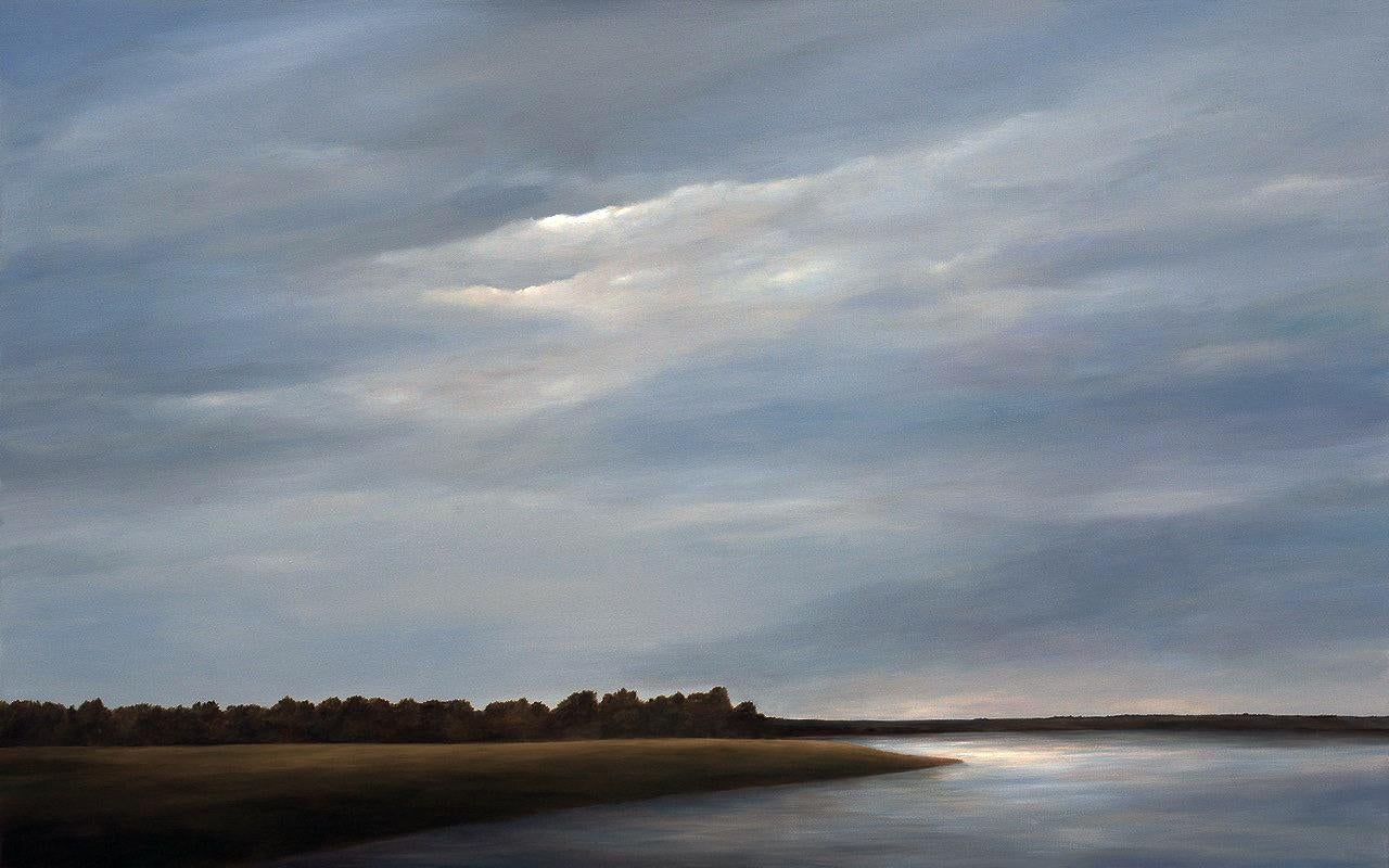 Across the Lake - Original Landscape Painting with Dramatic Sky and Landscape