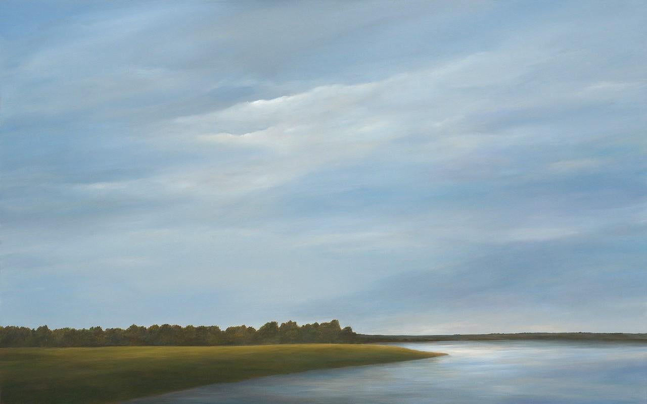 Across the Lake - Serene Landscape with Expansive Sky & Calm Water, Original Oil