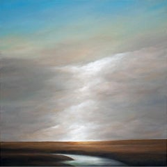 Ascending Light - Original Oil Painting with Dramatic Sky and Landscape