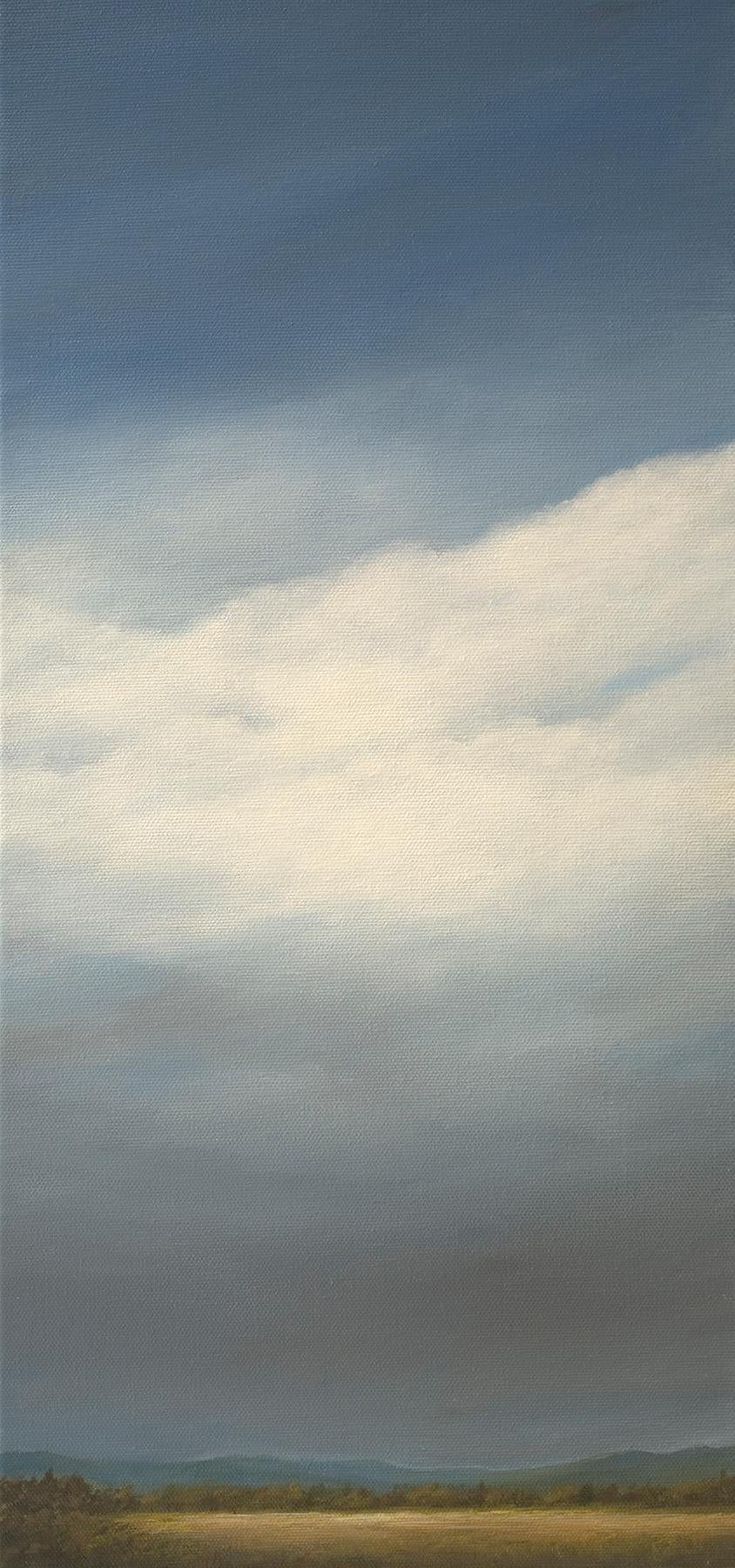 """""""Building Clouds, Looking West"""", Contemporary Landscape Painting, Walnut Frame"""