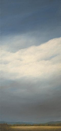 """Building Clouds, Looking West"", Contemporary Landscape Painting, Walnut Frame"