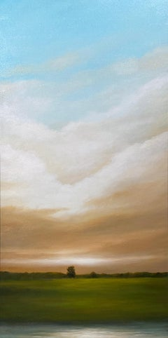 Building Clouds, Quiet Pond - Original Oil Painting, Dramatic Sunset, Landscape
