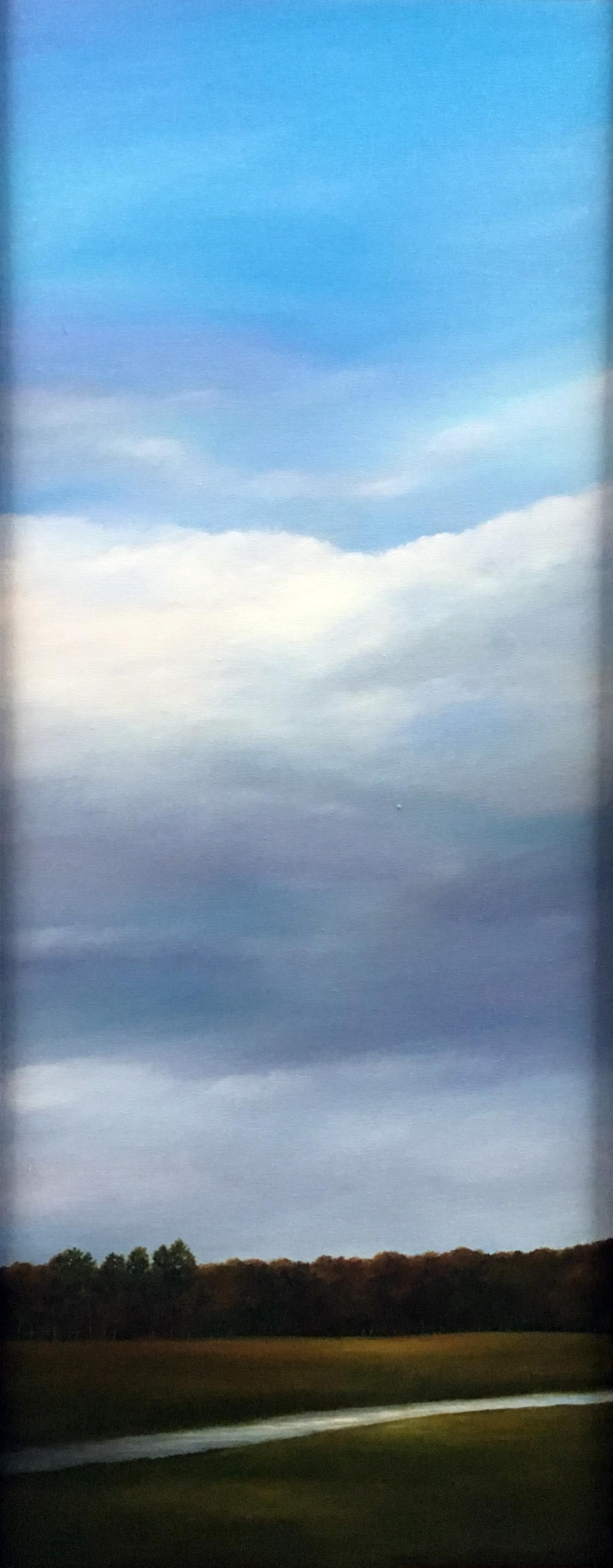 """""""Creek and Clouds"""", Contemporary, Landscape, Painting, Walnut Frame, Varnish"""