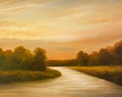 Creek Bend at Dusk - Original Oil Painting with a Golden Landscape, River Scene