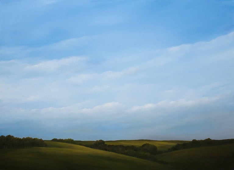 "Ahzad Bogosian Landscape Art - ""Hilltop Light"", Acrylic Landscape Painting on Canvas with Walnut Frame"