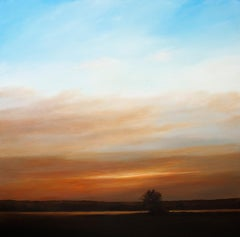 """""""Incoming Dusk on the River"""", Contemporary, Landscape, Painting, Framed"""