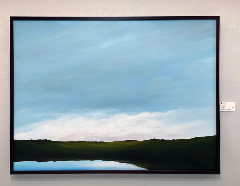Lagoon - Serene Landscape, Expansive Cloudy Sky with Calm Lake, Original Oil  - Painting by Ahzad Bogosian