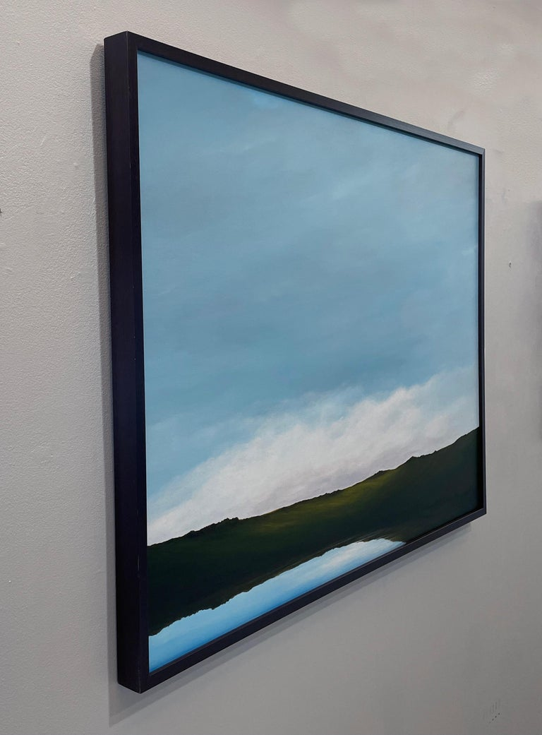 Lagoon - Serene Landscape, Expansive Cloudy Sky with Calm Lake, Original Oil  - Contemporary Painting by Ahzad Bogosian