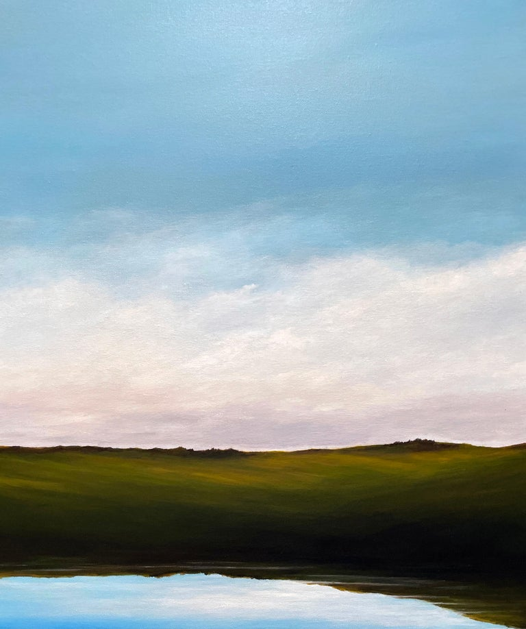 Lagoon - Serene Landscape, Expansive Cloudy Sky with Calm Lake, Original Oil  - Blue Landscape Painting by Ahzad Bogosian