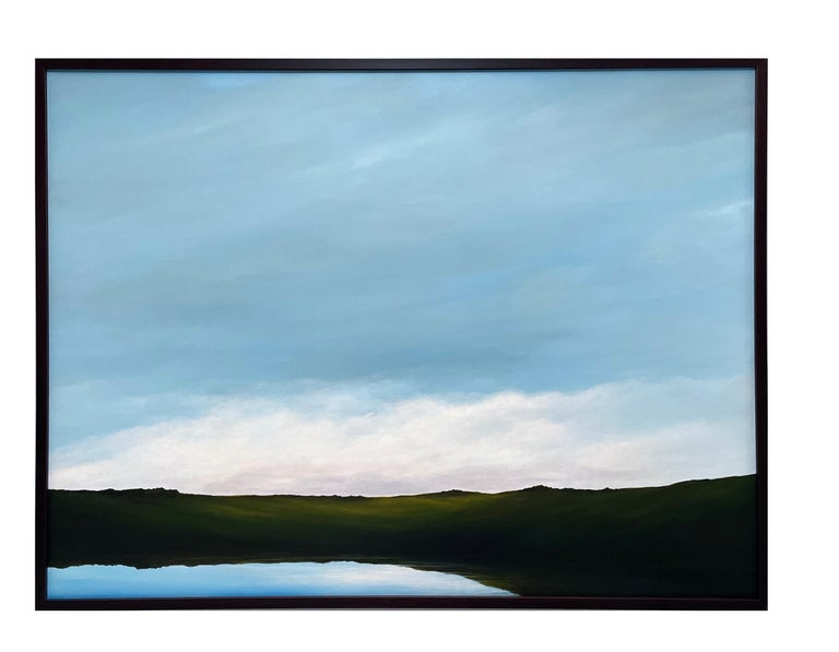 Lagoon - Serene Landscape, Expansive Cloudy Sky with Calm Lake, Original Oil  For Sale 1
