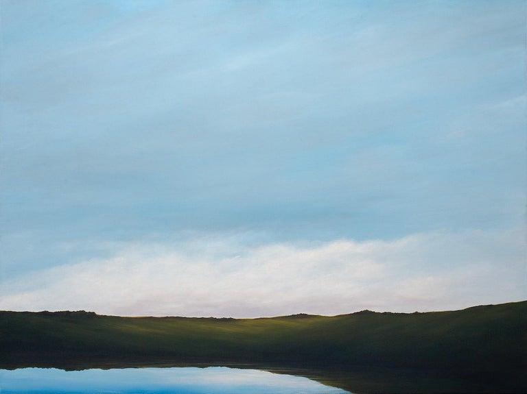Ahzad Bogosian Landscape Painting - Lagoon - Serene Landscape, Expansive Cloudy Sky with Calm Lake, Original Oil