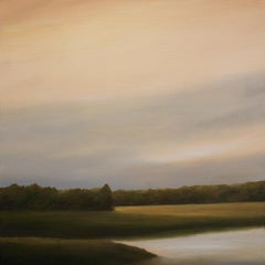 """Lake, Late Afternoon"", Contemporary, Landscape, Painting, Framed, Walnut"
