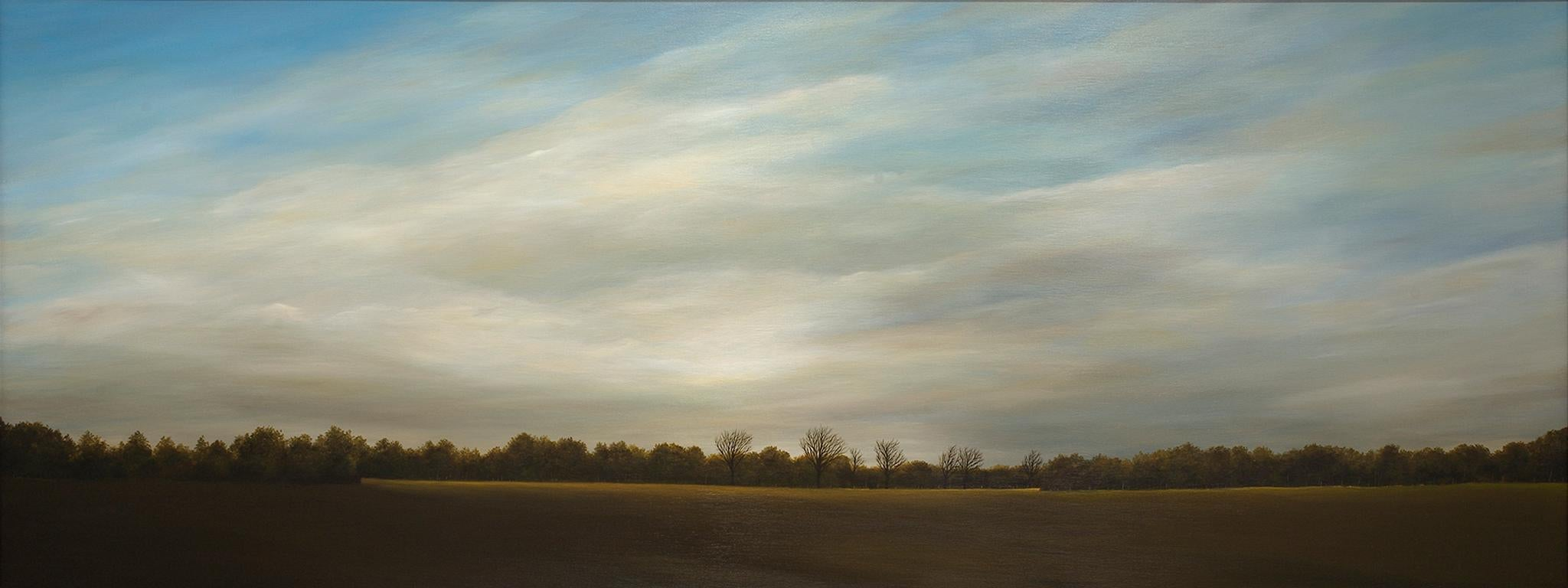 """""""Late Afternoon, October"""", Contemporary, Landscape, Painting, Walnut, Frame, Oil"""