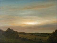 Light Above the Hills, Serene Landscape , Sun Peaking Thought Hazy Sky, Framed