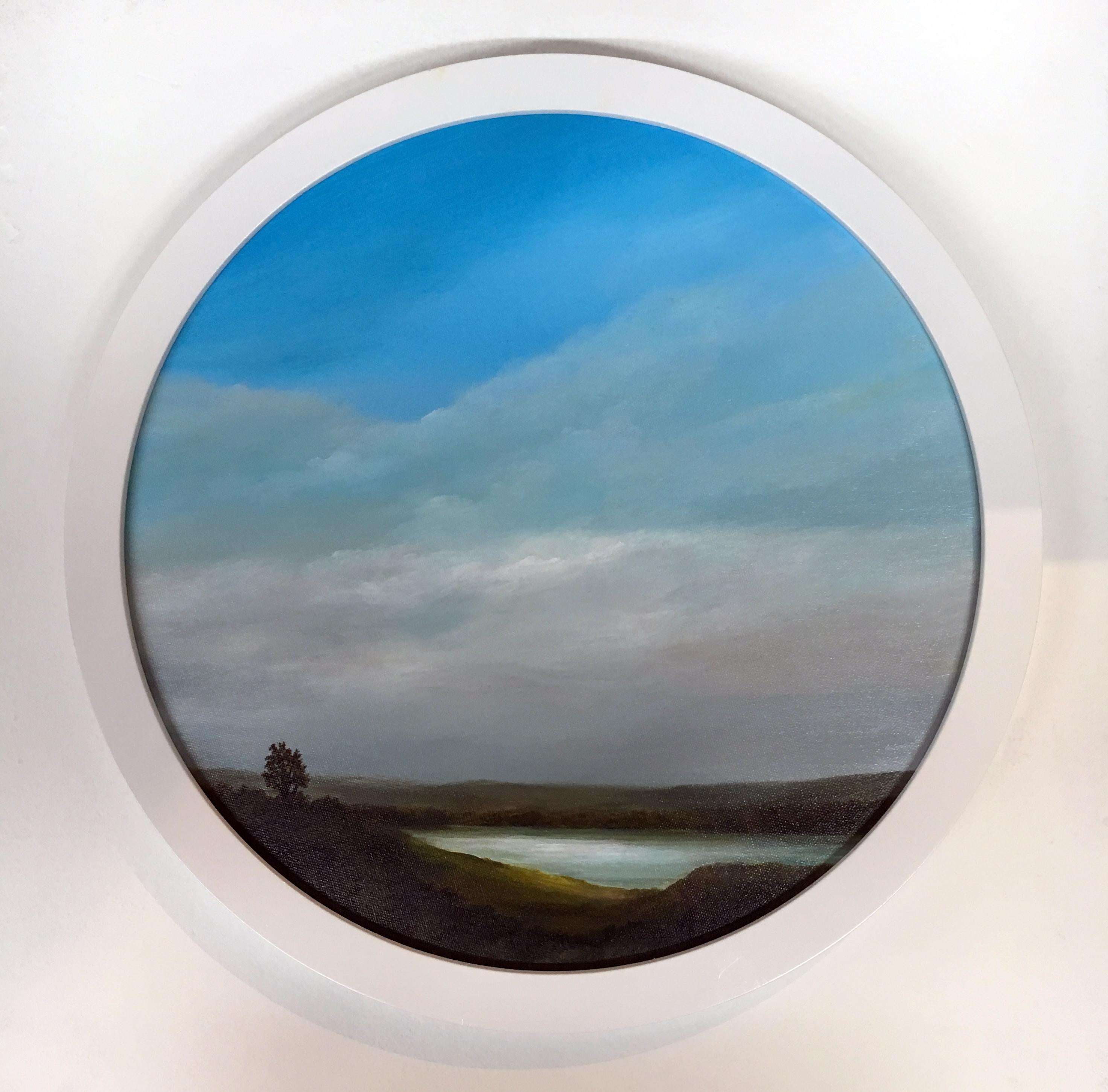 Looking North Above the River, Oil and Acrylic Paint on Round Canvas, Framed