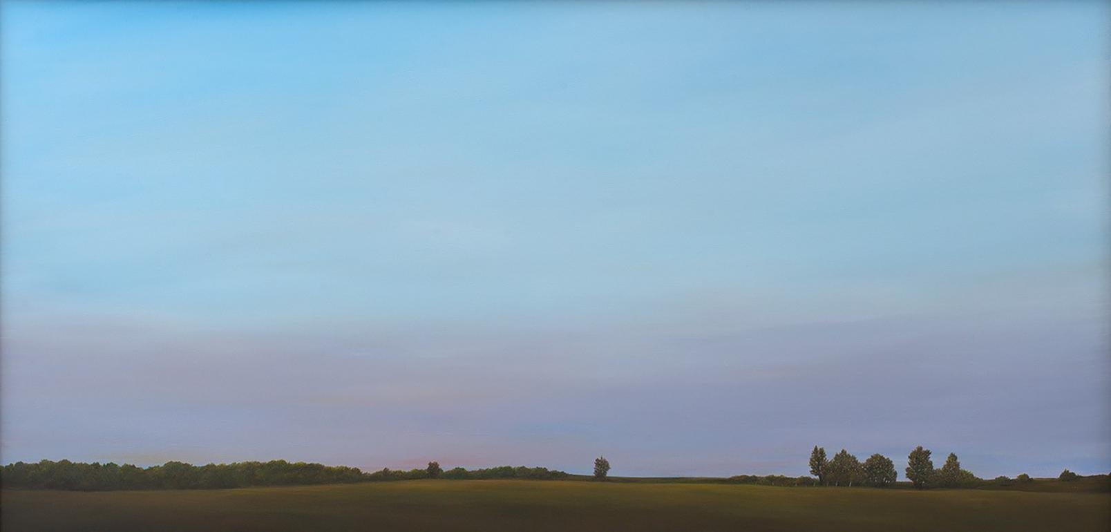 Morning Light, North of Springfield -  Serene Landscape with Purple Haze, Framed