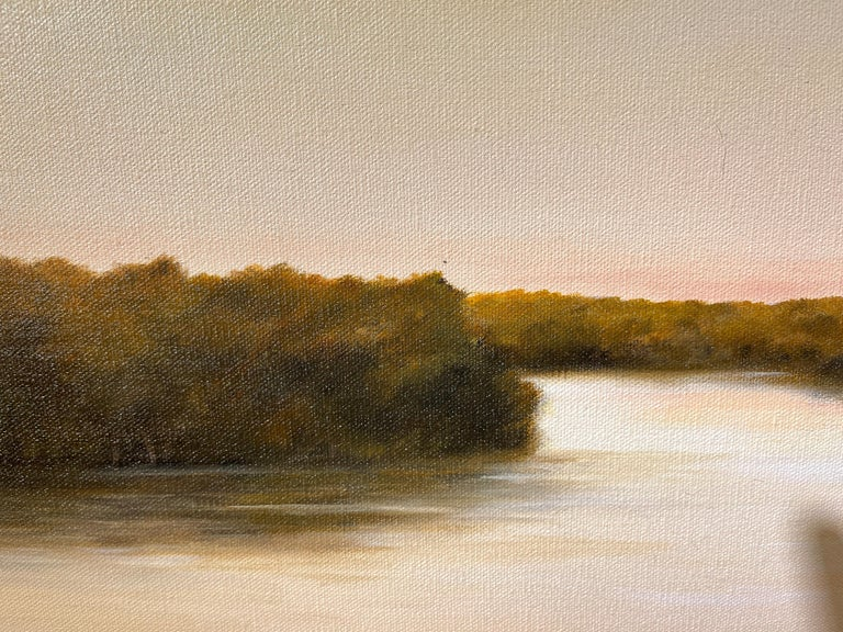 Morning on the Kankakee - Original Oil Painting with Dramatic Sky and Landscape For Sale 3