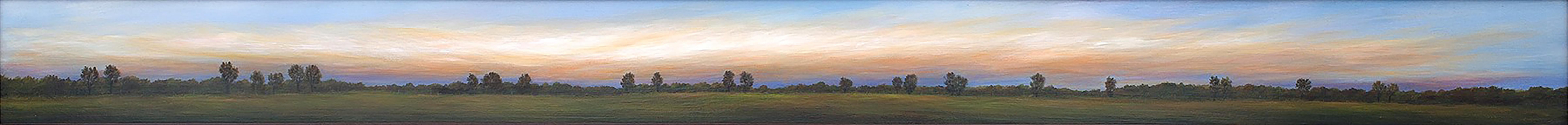 Pasture at Twilight - Long Thin Landscape Painting Unusually Shaped