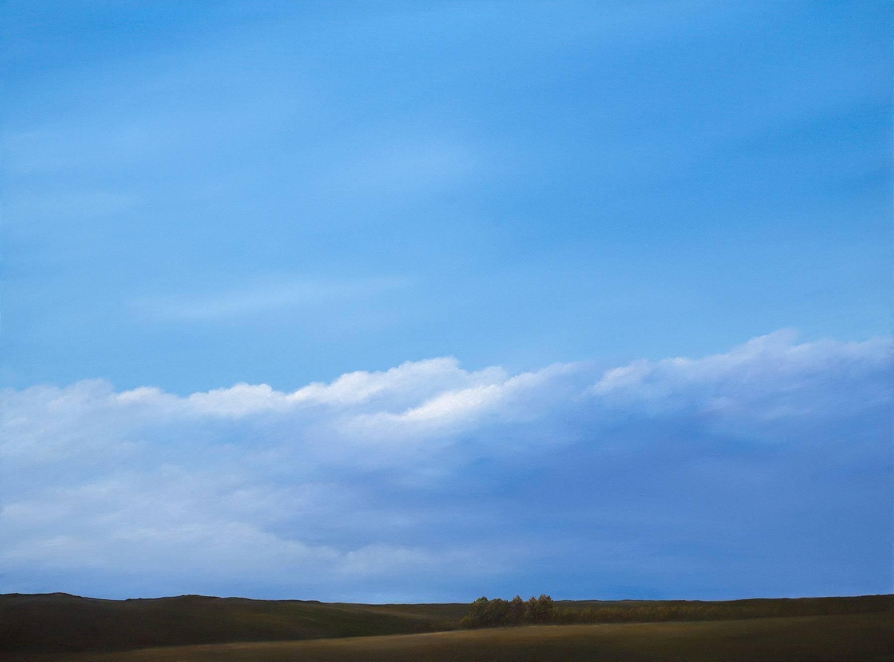 """Ridgetop Light"", Acrylic Landscape Painting on Canvas, Walnut Frame, Varnish"