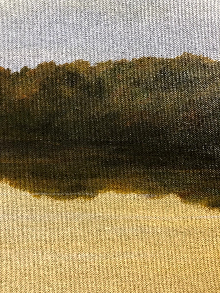 River Reflections #1 - Oil Painting with Trees Reflected in Water in Gold Tones For Sale 1