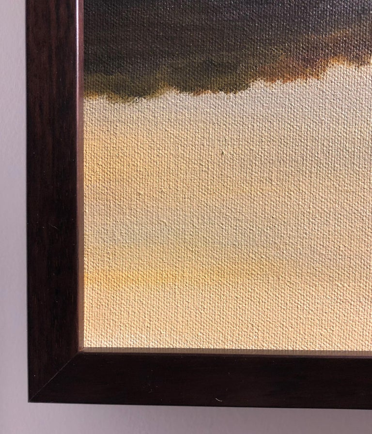 River Reflections #1 - Oil Painting with Trees Reflected in Water in Gold Tones For Sale 2