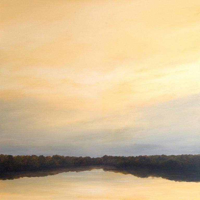Ahzad Bogosian Landscape Painting - River Reflections #1 - Oil Painting with Trees Reflected in Water in Gold Tones