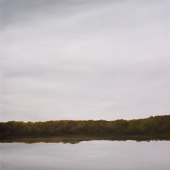 River Reflections #2 - Minimalist Oil Painting of Gray Sky Reflected in Water