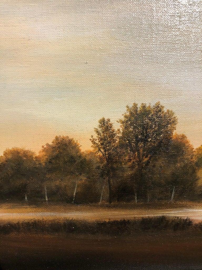 Streams of Bloomington, Serene Landscape with Vast Hazy Blue Sky, Framed - Contemporary Painting by Ahzad Bogosian
