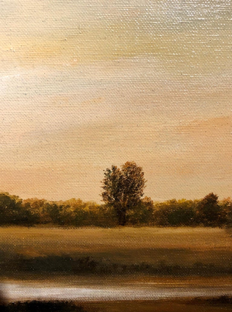 Streams of Bloomington, Serene Landscape with Vast Hazy Blue Sky, Framed - Gray Landscape Painting by Ahzad Bogosian