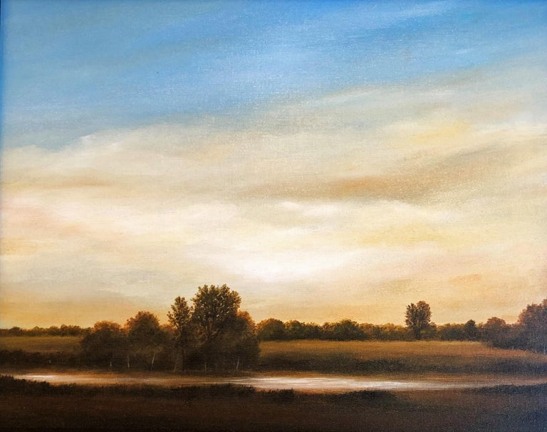 Ahzad Bogosian Landscape Painting -  Streams of Bloomington, Serene Landscape with Vast Hazy Blue Sky, Framed
